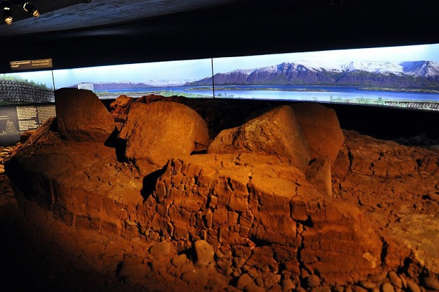 The foundations of early buildings in Iceland at the Reykjavik Settlement Museum