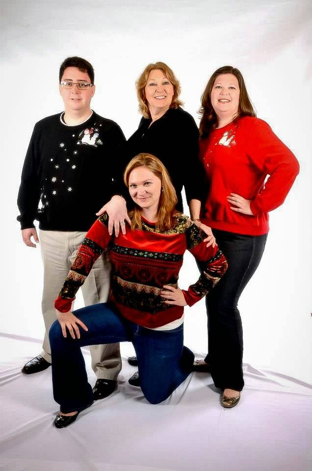 Awkward family photos of people wearing ugly Christmas sweaters