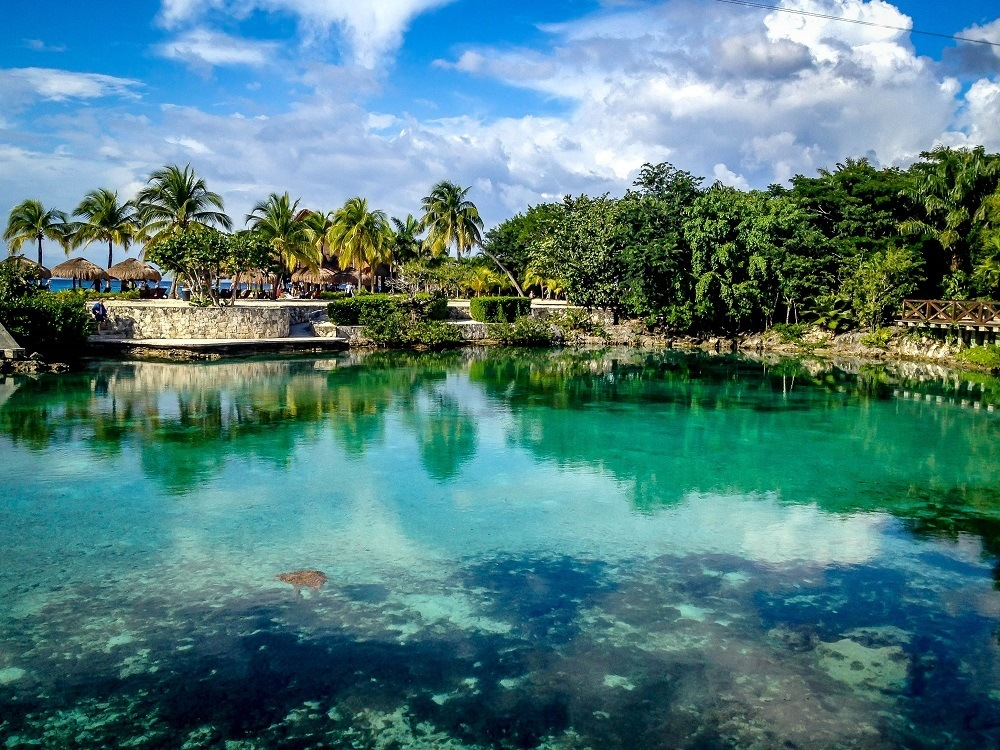 The Lagoon at Chankanaab National Park Cozumel Mexico.  This is one of the most visited national parks in Cozumel Mexico. Despite this presence of fresh water, mosquitoes in Cozumel weren't an issue.
