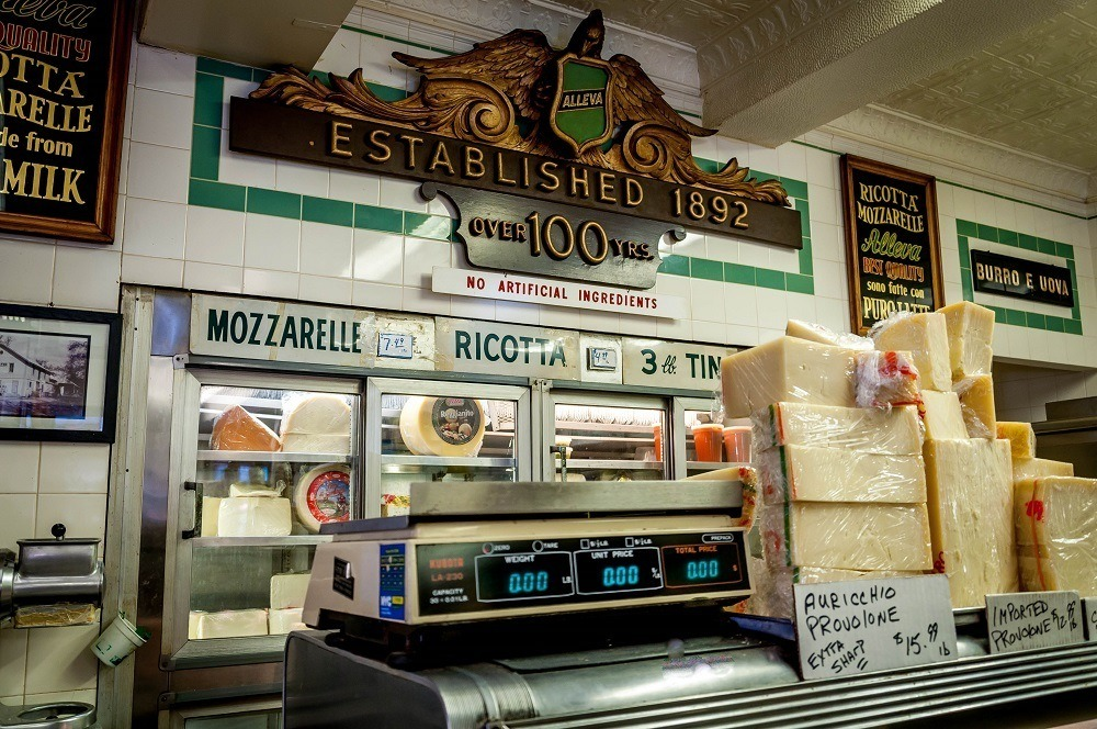 The Italian cheese counter at Alleva Dairy