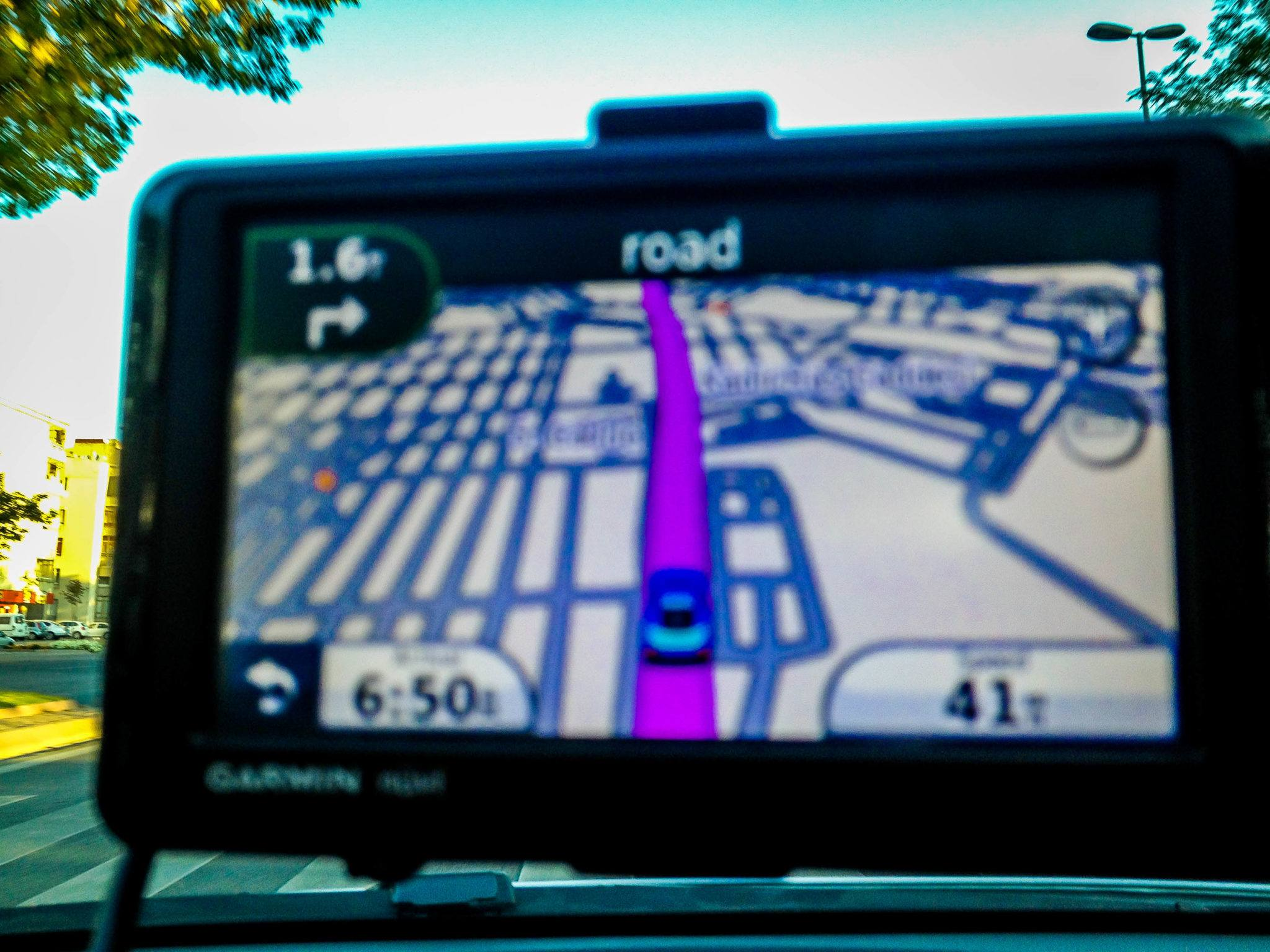 A GPS navigation in a car