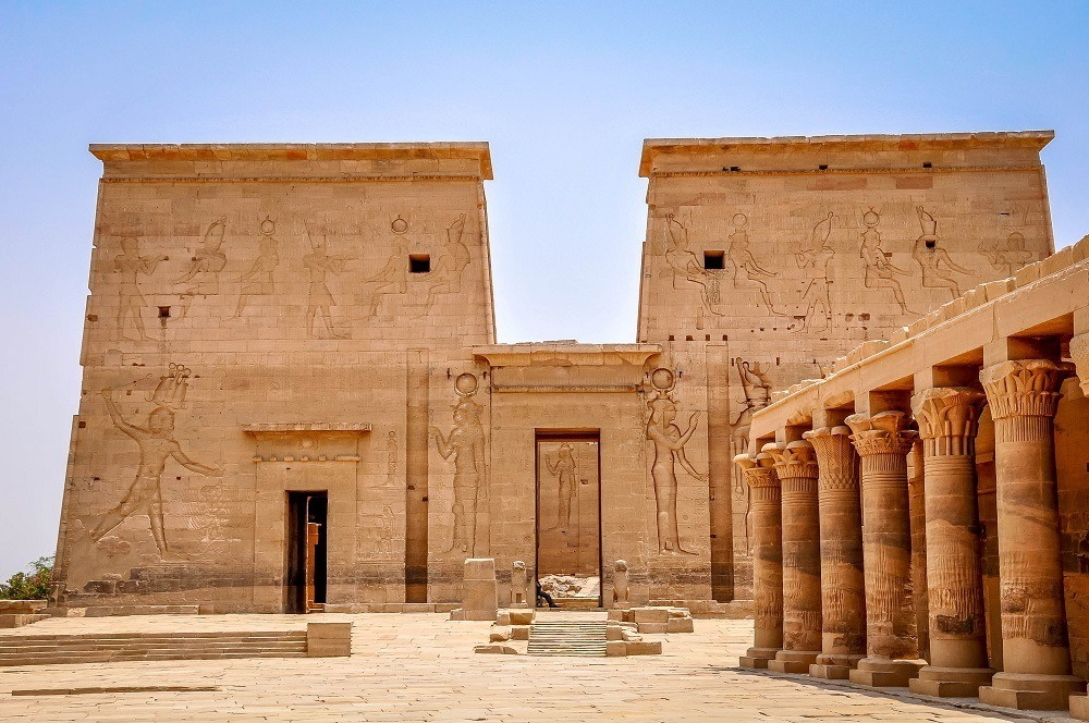 Philae Temple in Aswan, Egypt, decorated in relief carvings