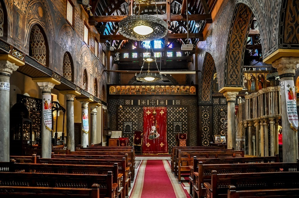 Interior of a church decorated with inlaid wood