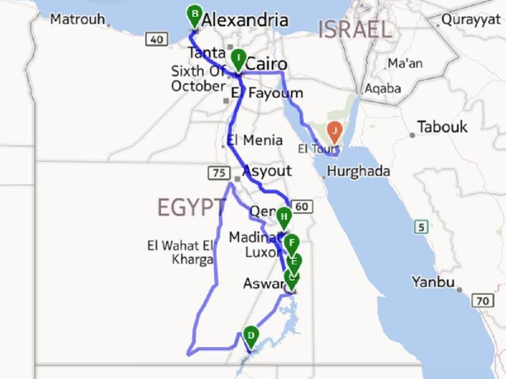 Egypt itinerary map