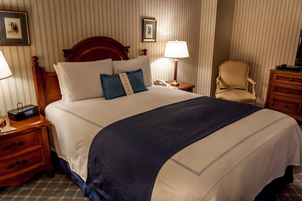 The bedroom at the Hotel Elysee NYC