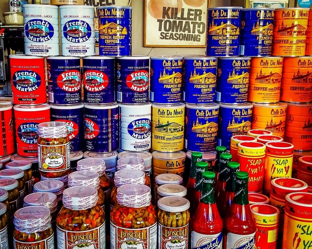 Coffee cans and spice jars