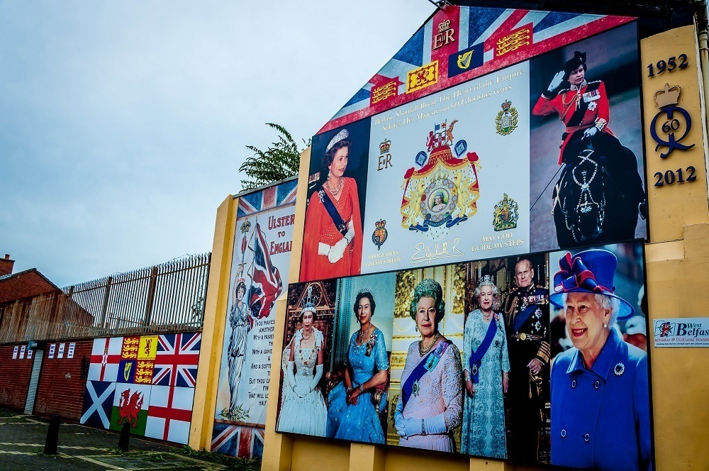 Mural showing several images of UK's Queen Elizabeth