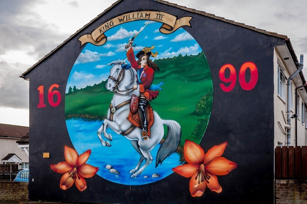 King William of Orange, one of the Loyalist Belfast murals