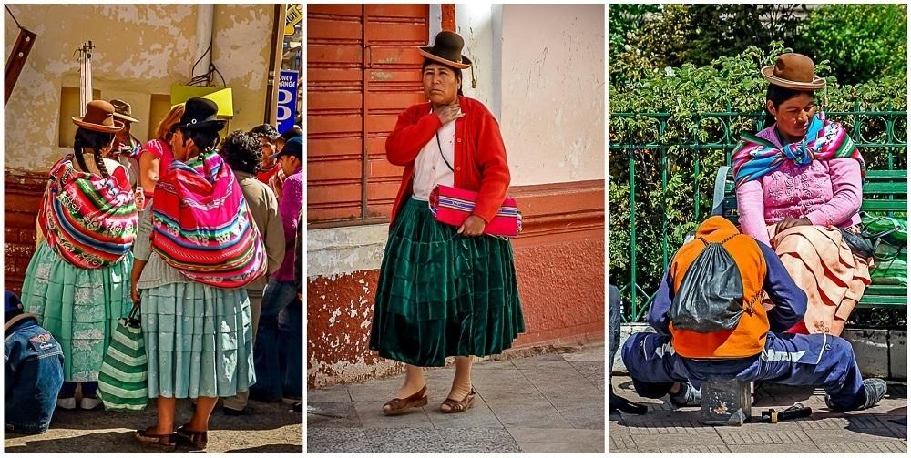 Women dressed in traditional Peruvian dress in Puno, Peru