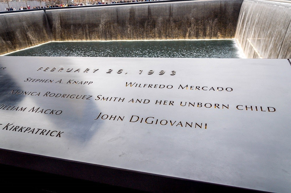 Name on the walls at the September 11 Memorial