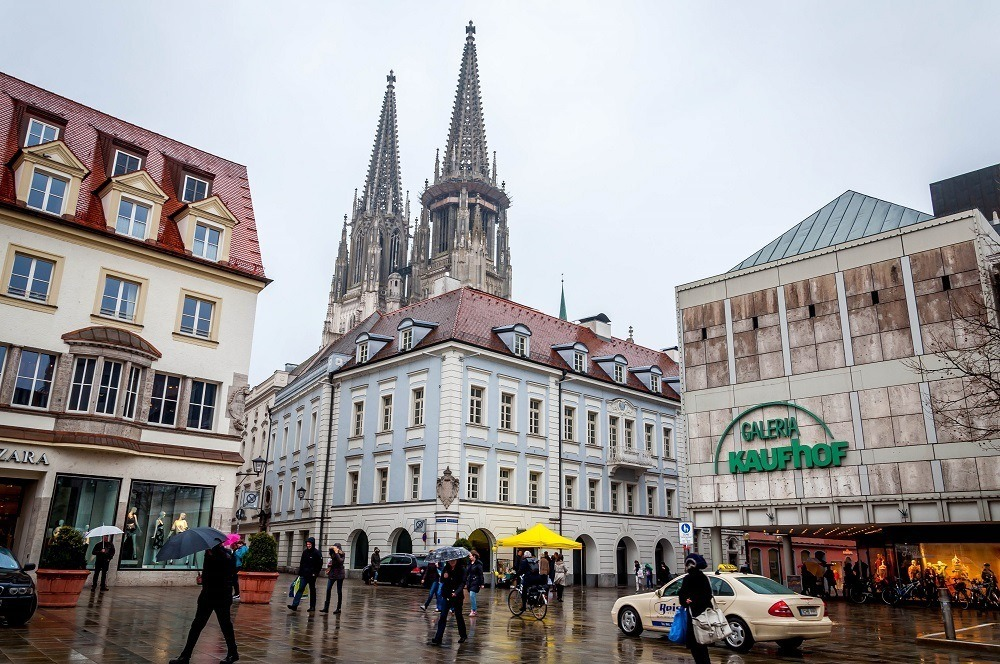 Seeing the main square while visiting Regensburg, Germany in the rain