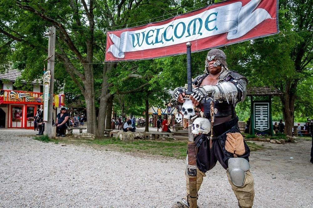 Sholo the Nubian greets you at Scarborough Fair Texas