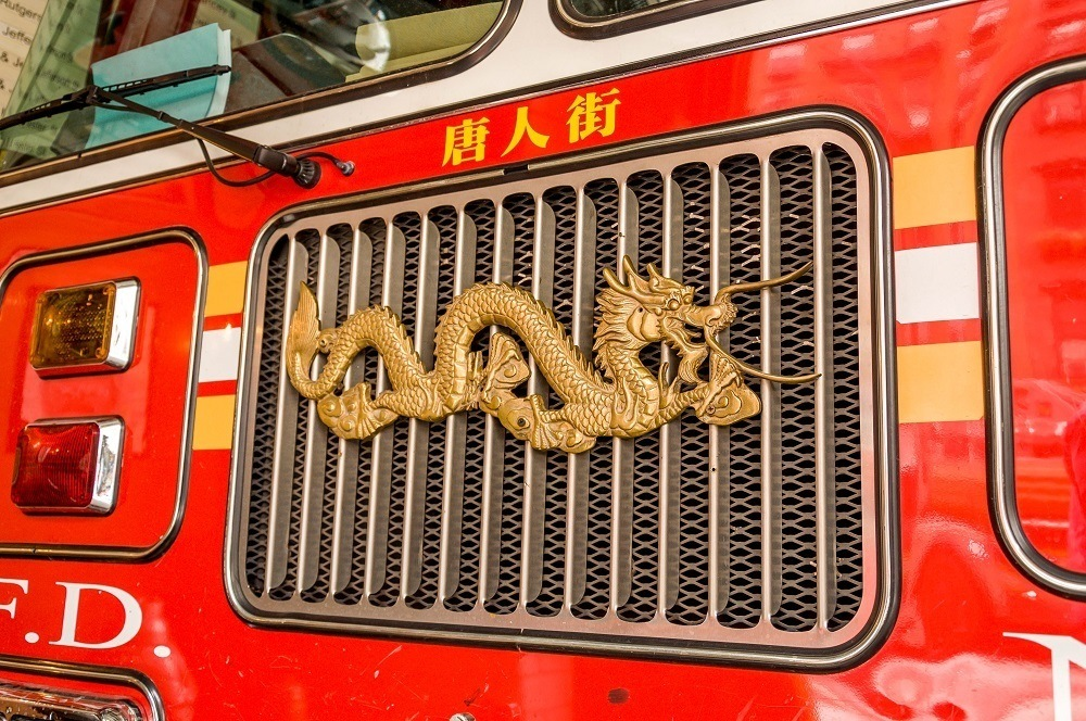Chinese dragon on a fire engine in Chinatown