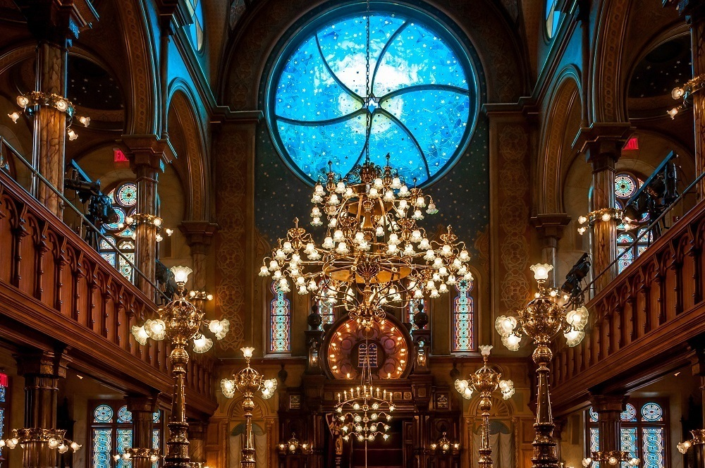 The Kiki Smith designed stained glass in the Museum at Eldridge Street on the Lower East Side