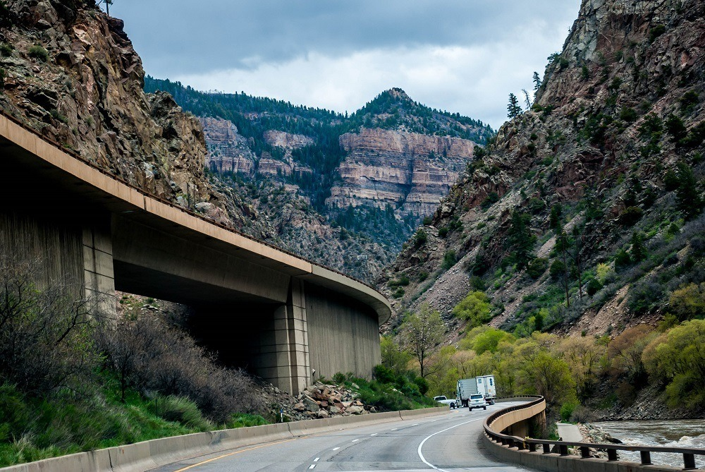 The multi-level highway in Glenwood Canyon
