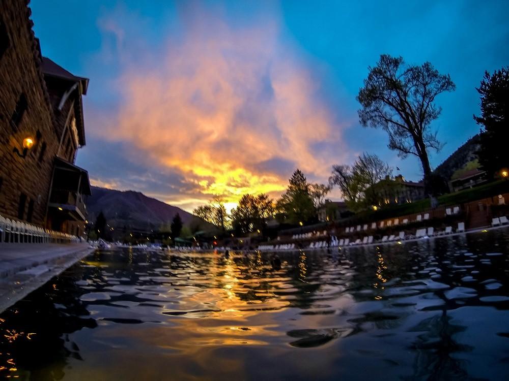 Sunset at the Glenwood pools