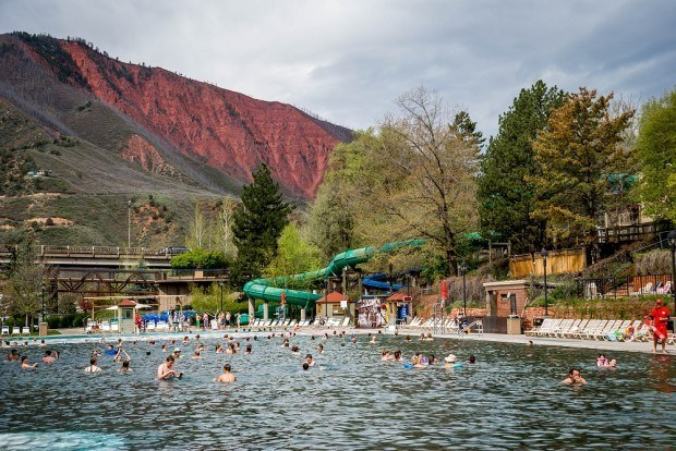 The water slides at the Glenwood Hot Springs Pool in Colorado.