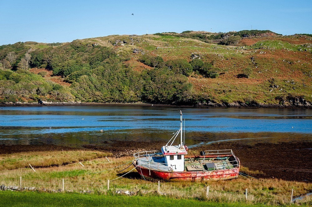 Abandoned fishing boat on the Wild Atlantic Way in Donegal