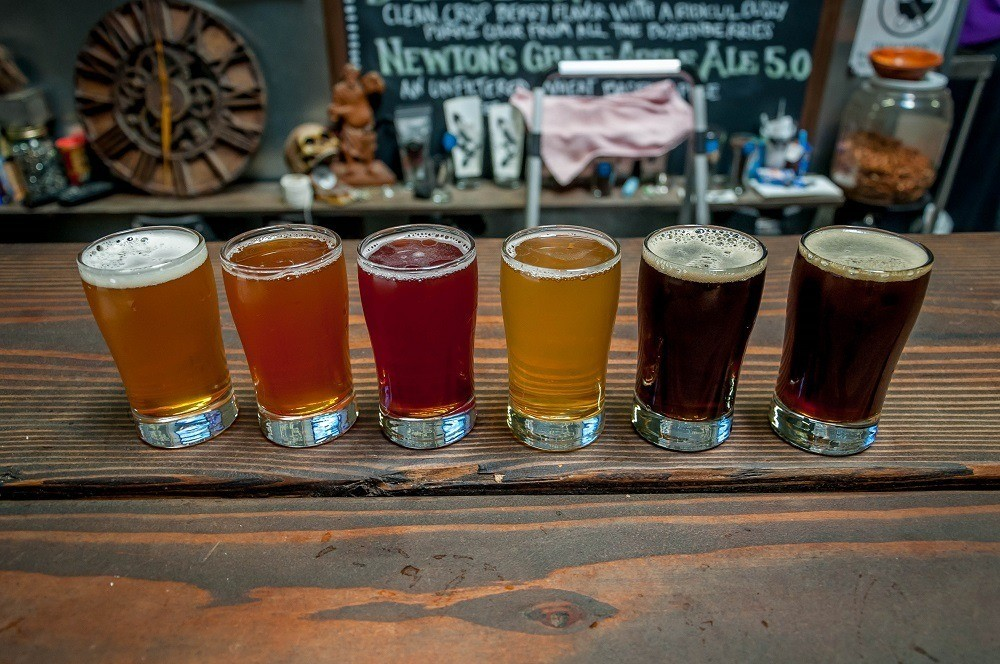 Tasting flight at a local craft brewery