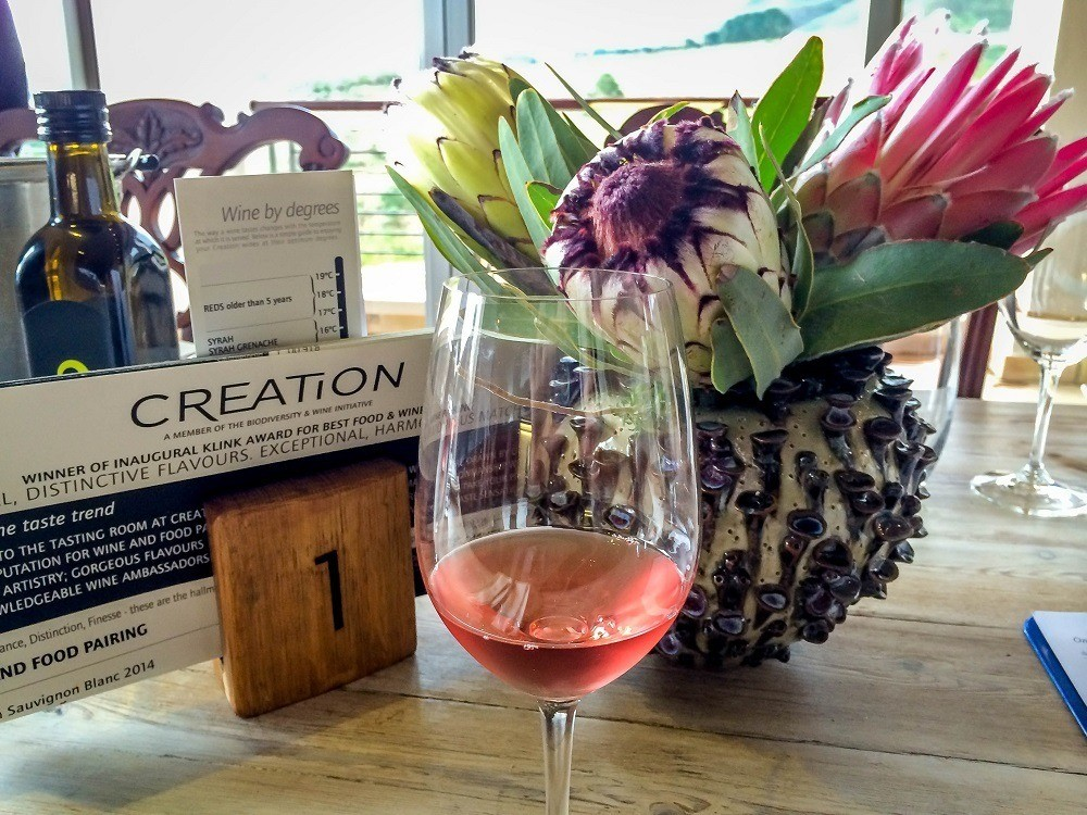 The wines from Creation Wines outside of Hermanus, South Africa