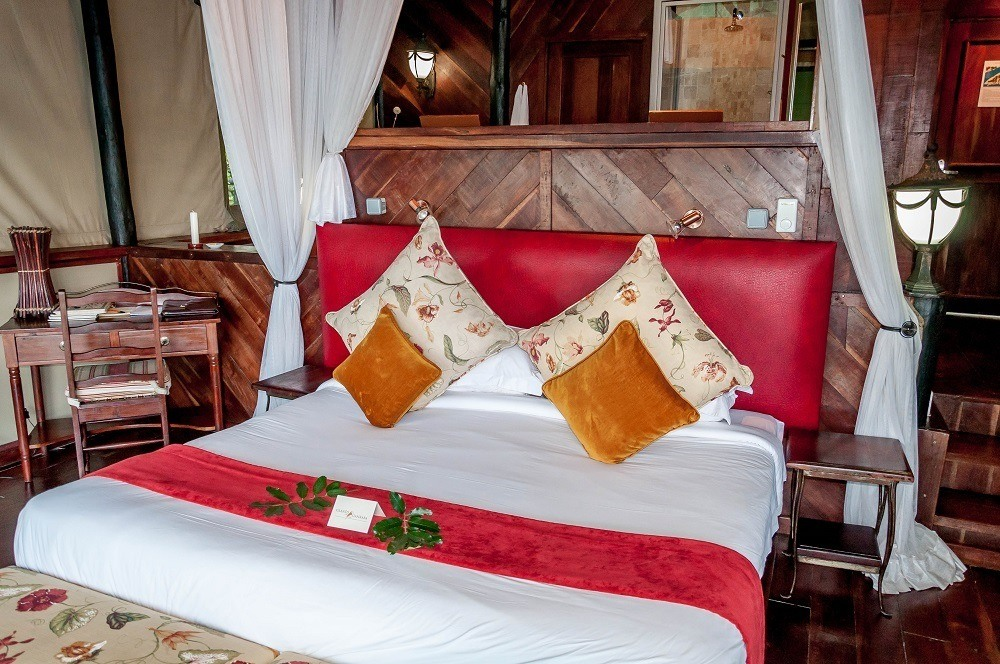 The bedrooms at Islands of Siankaba Lodge
