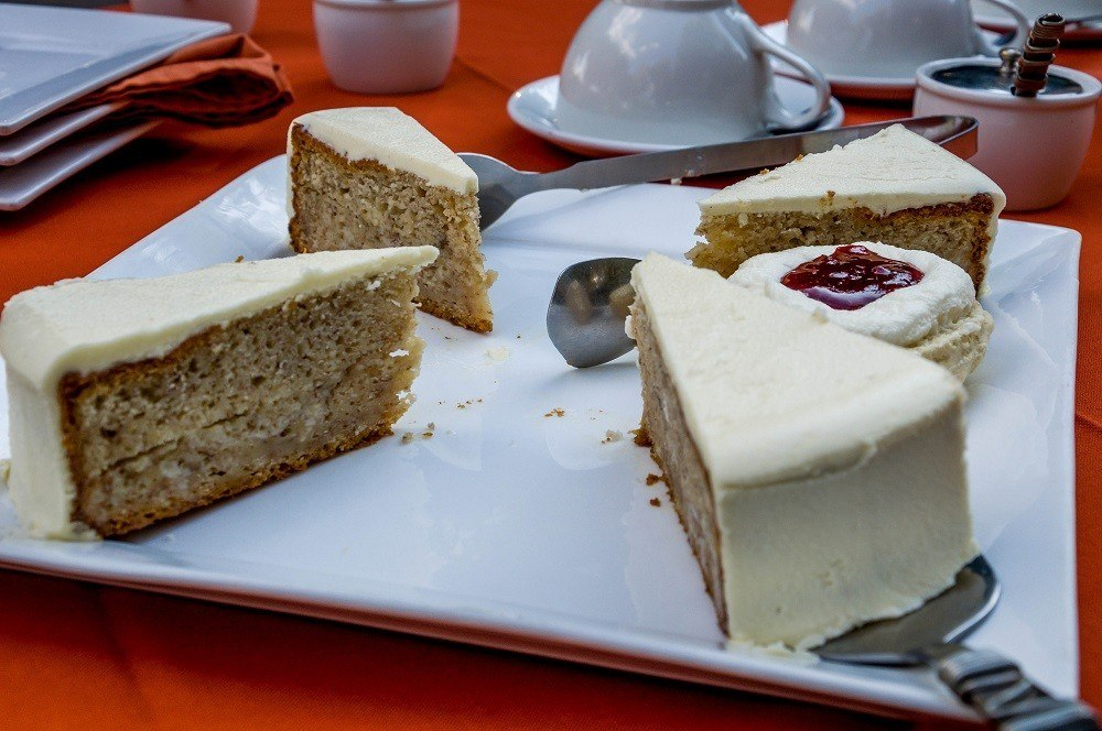 Afternoon tea service of cake