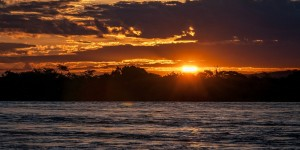Sunset over the Zambezi River in Zambia.