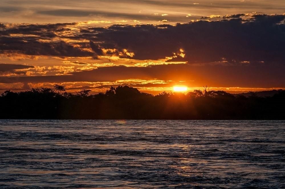 Sunset over the Zambezi River in Zambia