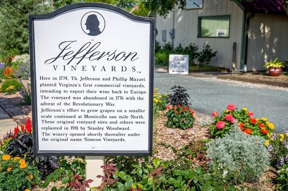 Sign at Jefferson Vineyards on Thomas Jefferson's wine legacy
