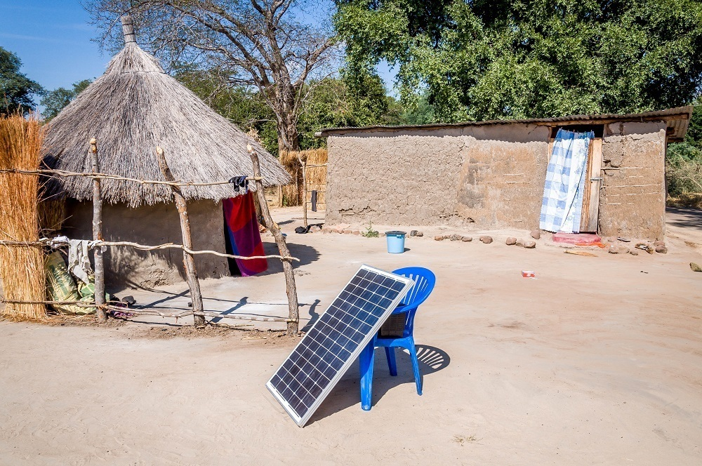 Solar panel in village of Siankaba