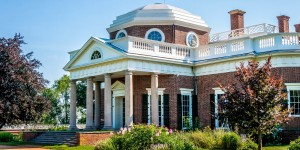 Thomas Jefferson's mountaintop home, Monticello, in Charlottesville, Virginia.