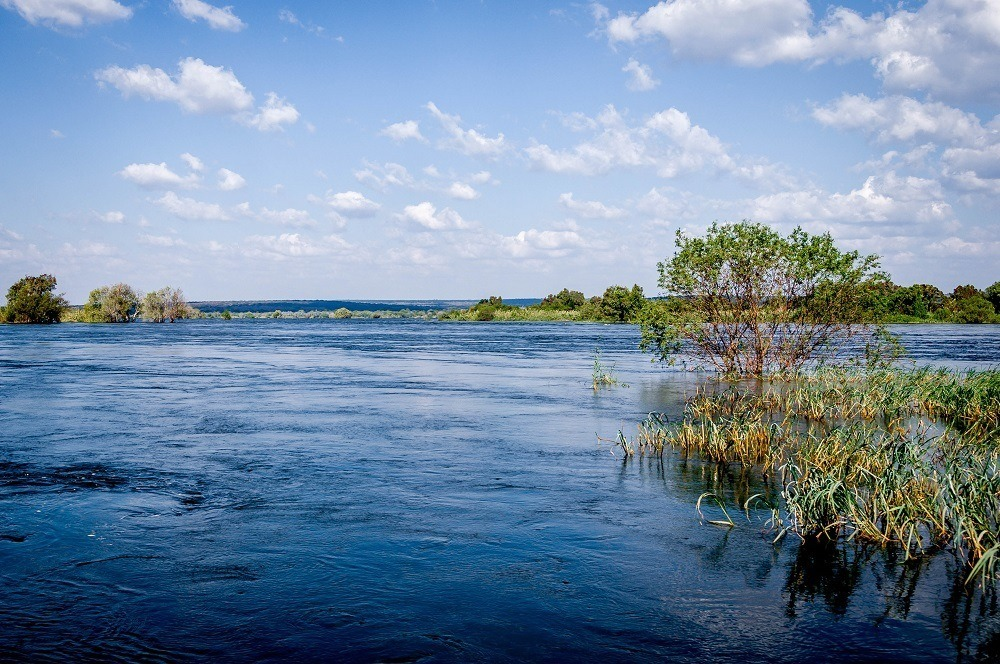 The view of Zambezi River from our chalet at the Islands of Siankaba lodge