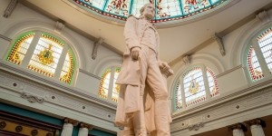The Carrera marble statue of Thomas Jefferson in the lobby of The Jefferson Hotel Richmond.