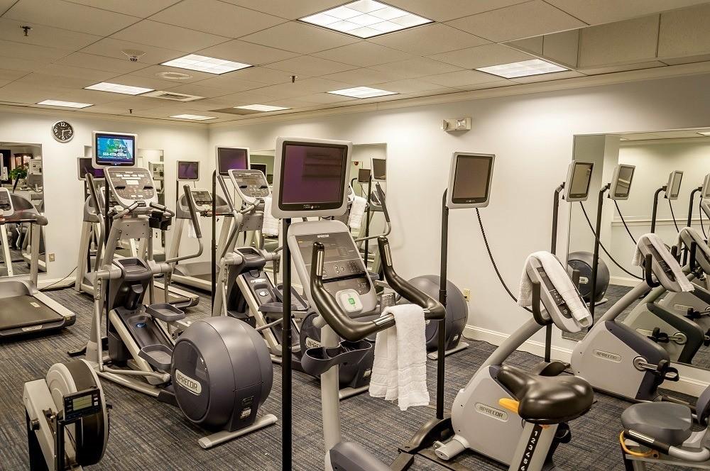 Exercise equipment in the fitness center
