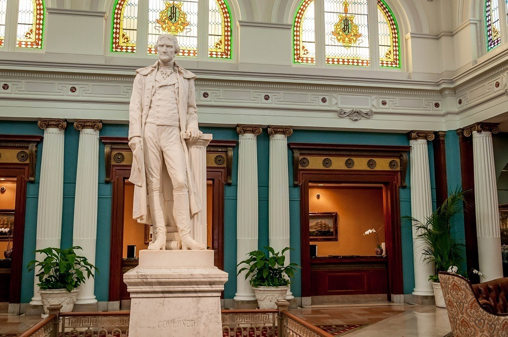 Statue of Mr. Thomas Jefferson welcoming guests to The Jefferson Hotel