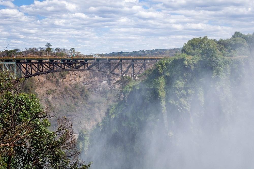 The mist at Victoria Falls and the Victoria Falls Bridge