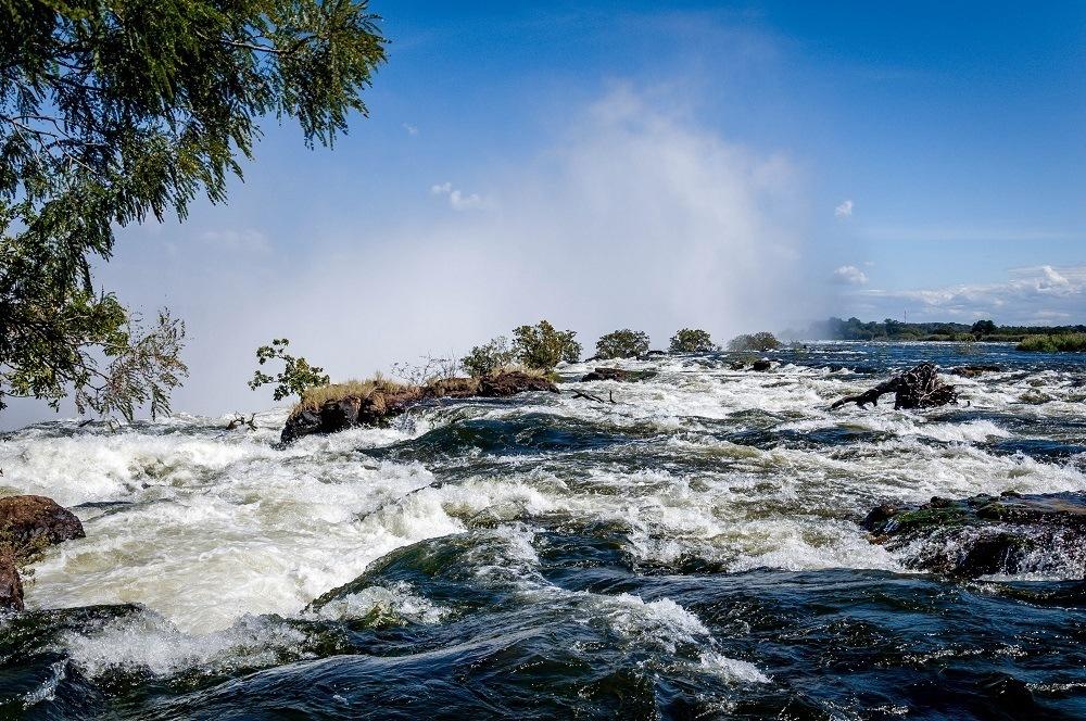 The rain-swollen Zambezi River above Victoria Falls