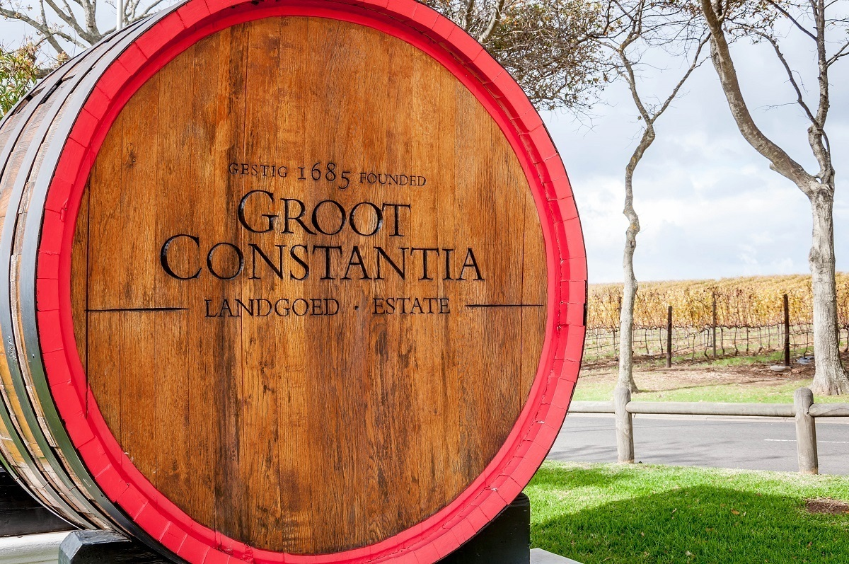 The sign for Groot Constantia, the oldest winery in the South Africa wine region