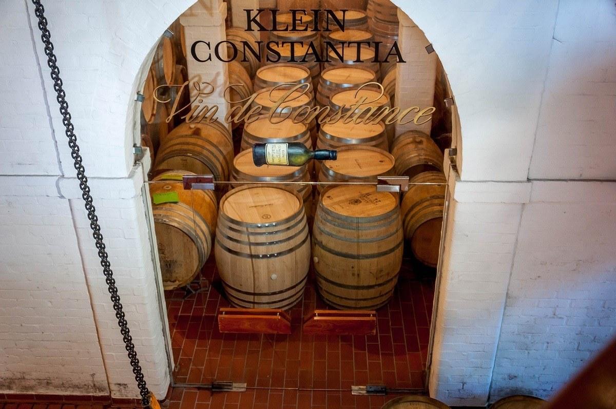 Barrels in the aging cellar at Klein Constantia