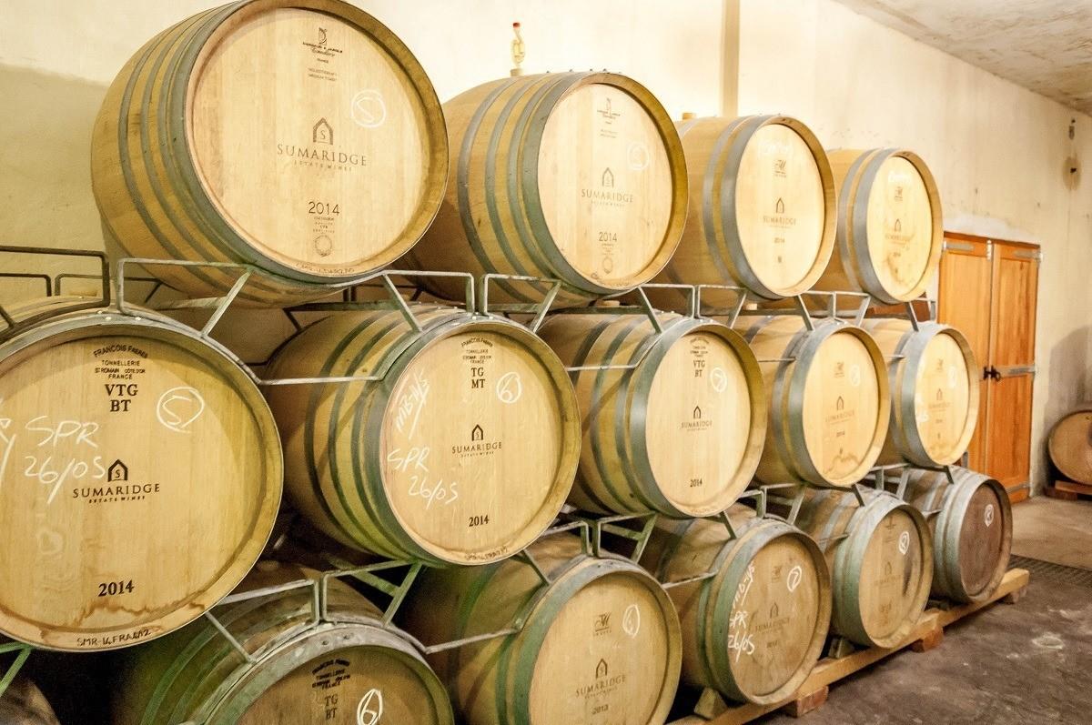 Aging barrels at Sumaridge Estate Wines