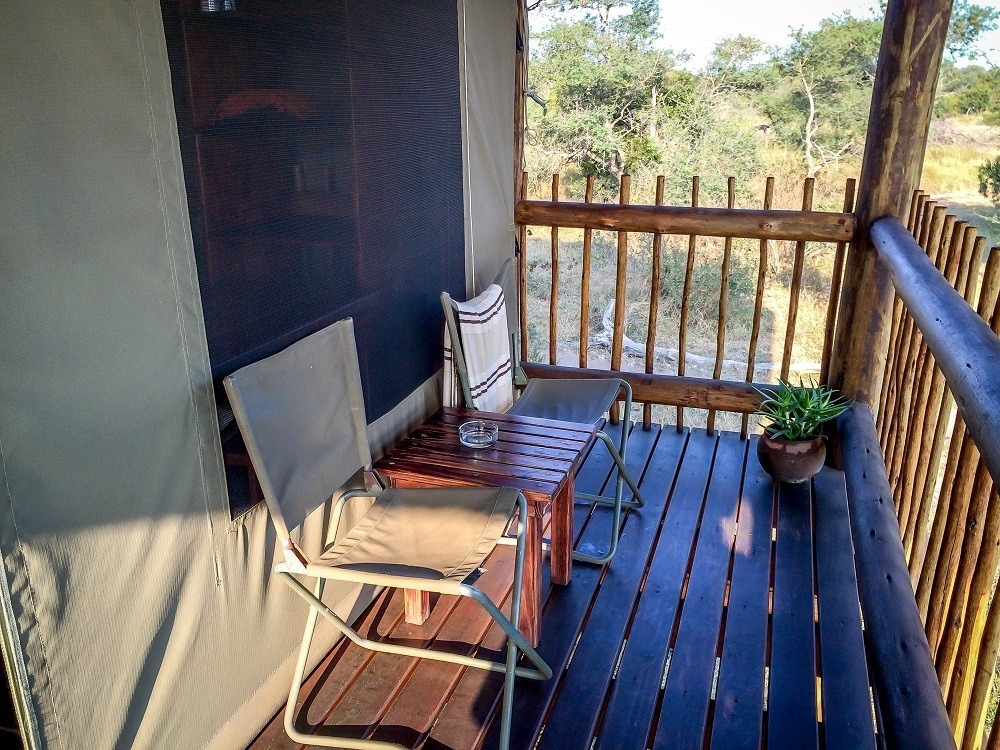 The sitting area/deck on our chalet