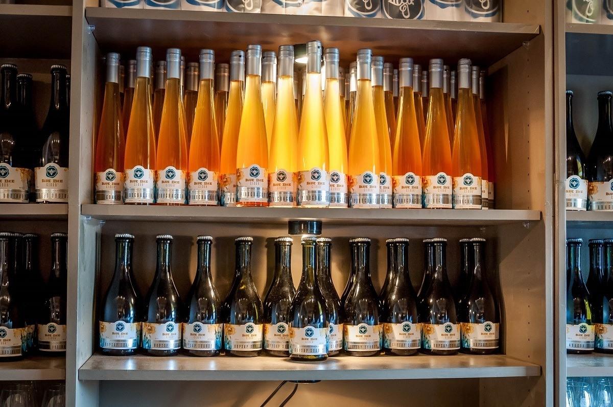 Bottles of cider at the Blue Bee Cider