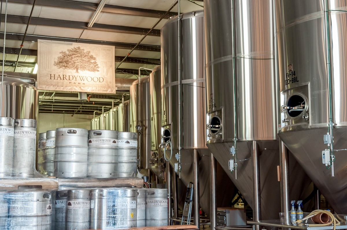 Kegs at a brewery