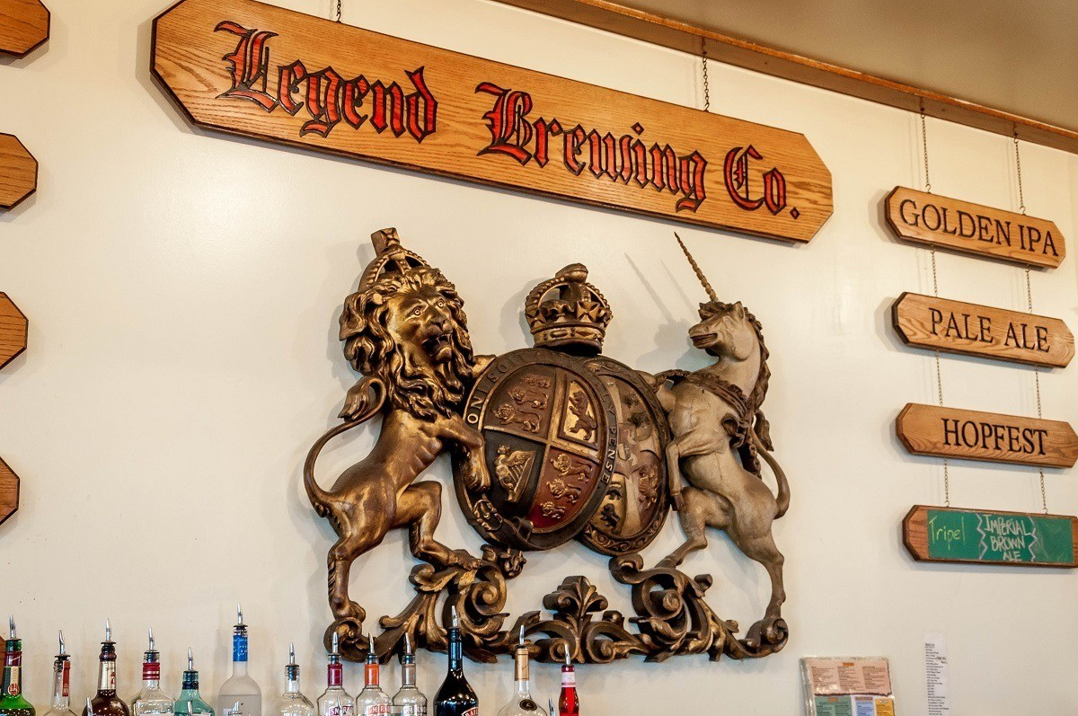 The bar and crest of Legend Brewing Company