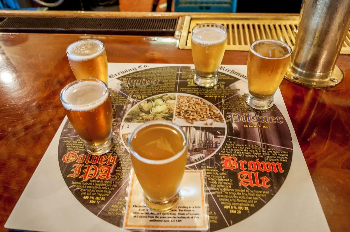 Beer tasting flight at Legend Brewing Company