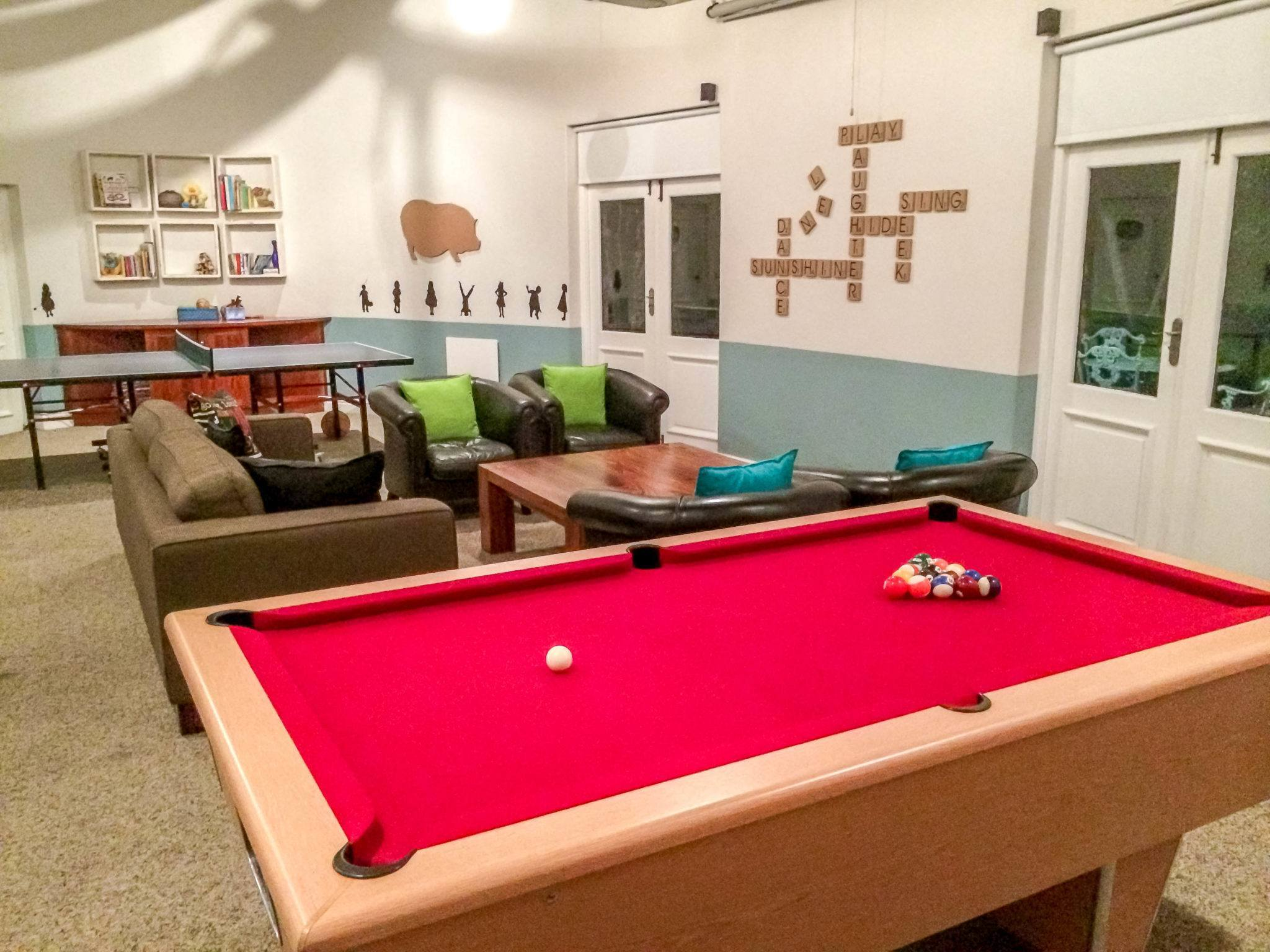 The game room at the Grootbos Private Nature Reserve Garden Lodge