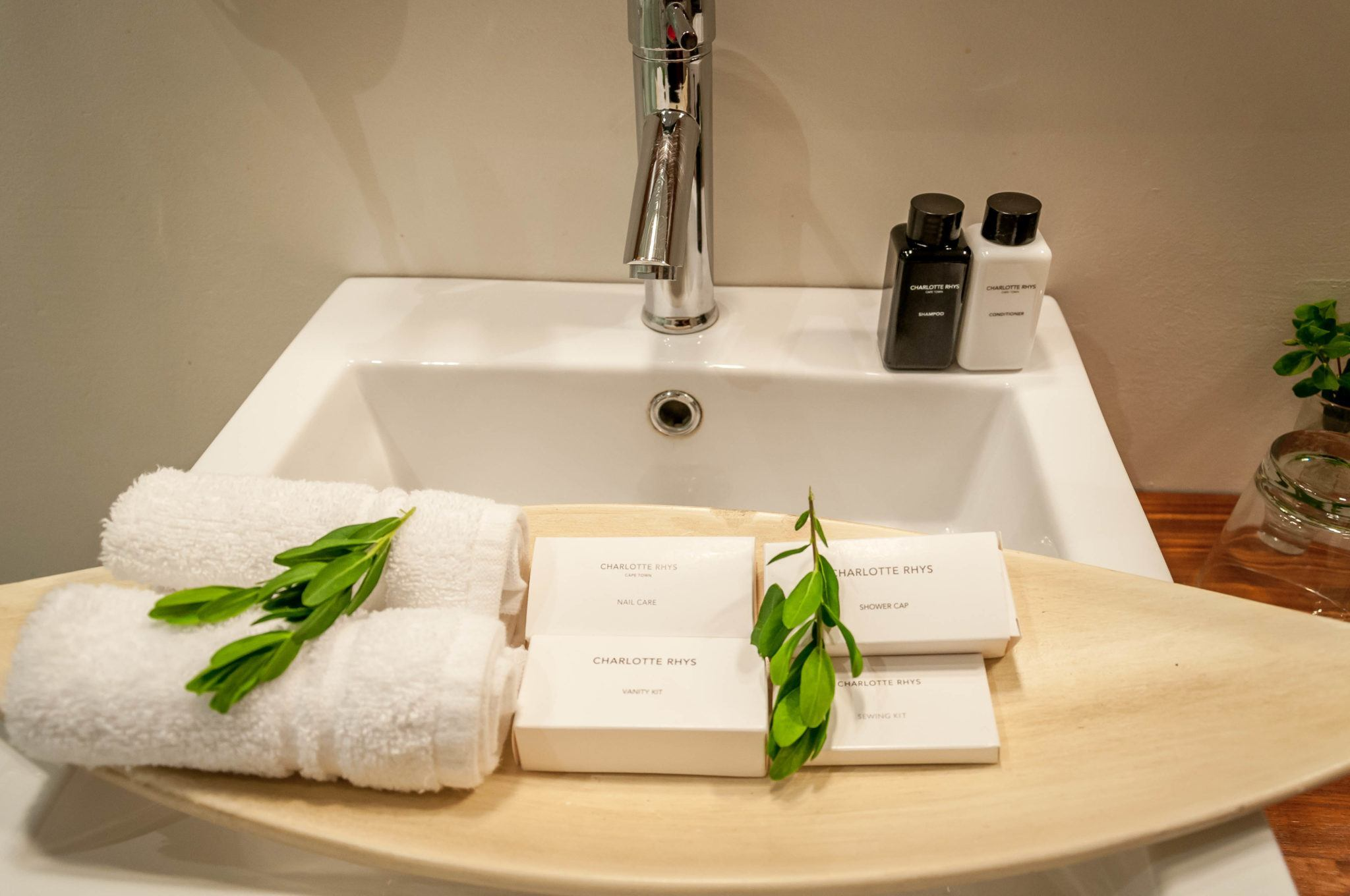 Bathroom amenities from Charlotte Rhys Cape Town.