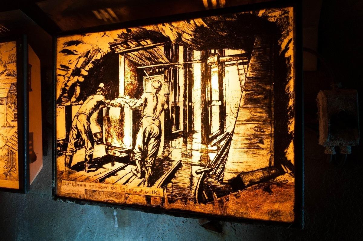 Educational panels inside the mine