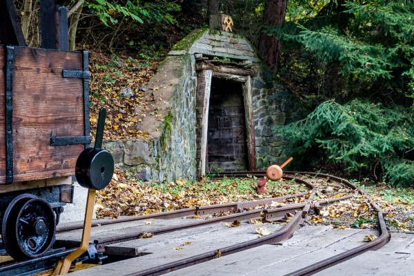 An ore cart and tracks at the Slovak Mining Museum in Banska Stiavnica.