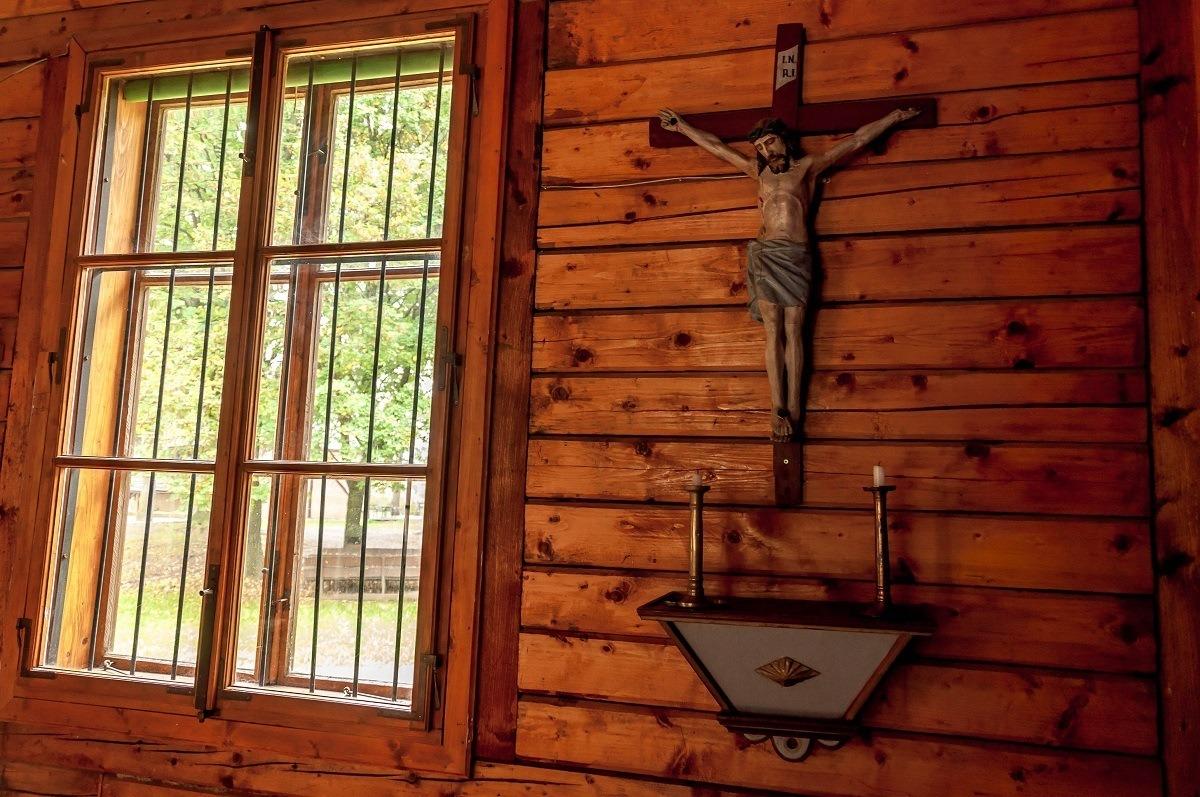 Wooden altar inside the church